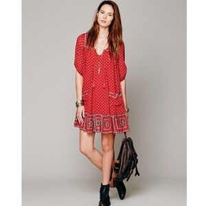 Free People Rare Red Penny Lane Peasant Dress XS